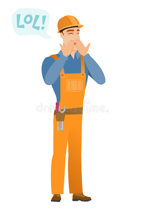Young caucasian builder laughing out loud. Builder and speech bubble with text - lol. Builder laughing out loud and covering his mouth. Vector flat design royalty free illustration