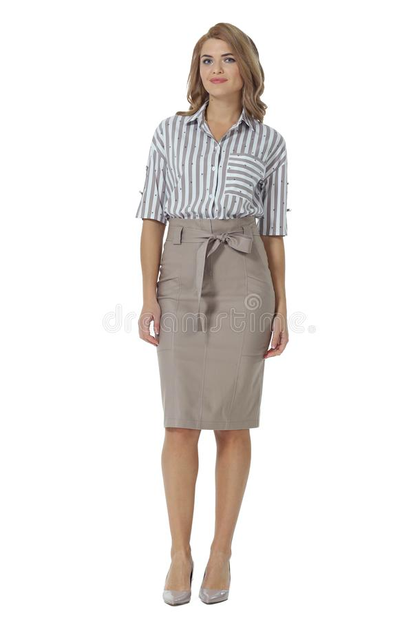 Young caucasian business woman executive posing in summer long striped dress high heels stiletto shoes full body length stock images