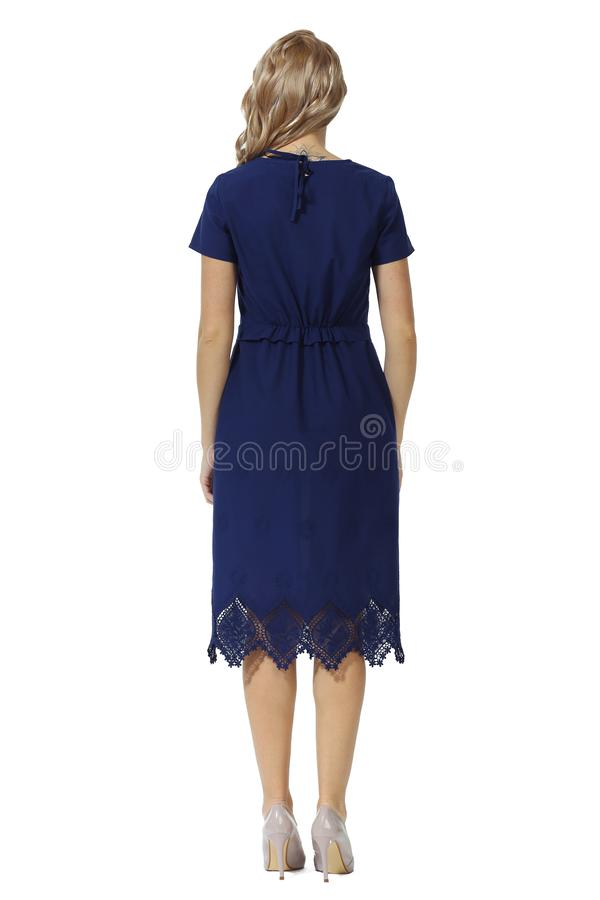 Young caucasian business woman executive posing in summer midi blue dress high heels stiletto shoes full body length royalty free stock photos