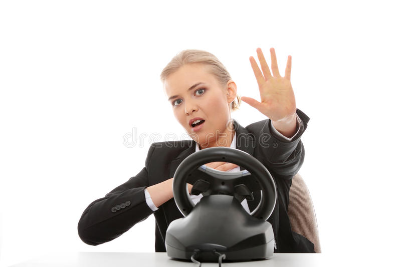 Download Young Caucasian Business Woman Playing On Computer Stock Photo - Image: 14568822