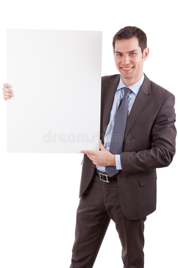 Young Caucasian Businessman Holding A White Board Stock Photography