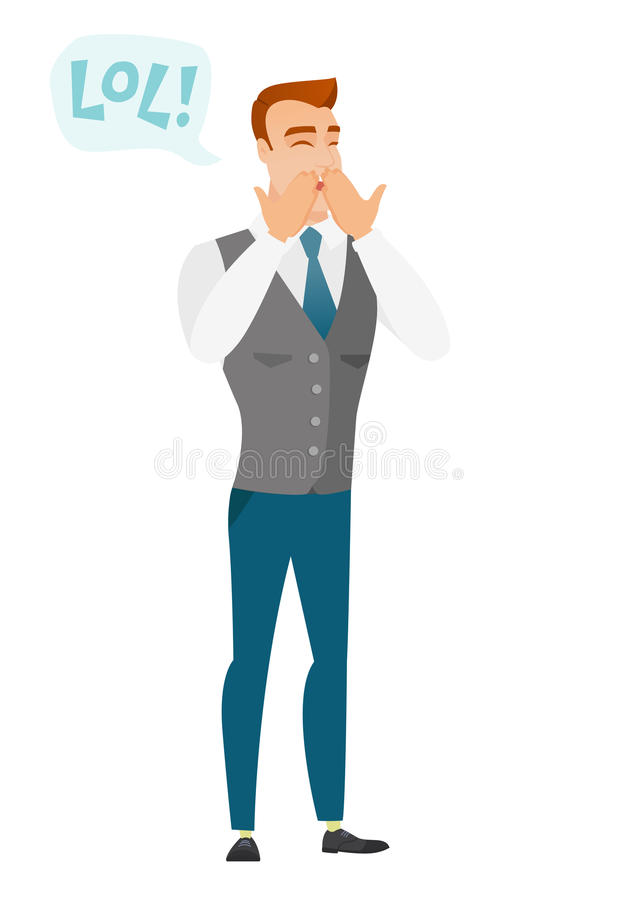 Young caucasian businessman laughing out loud. royalty free illustration