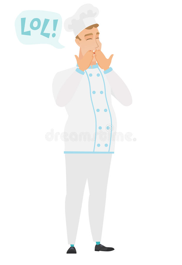 Young caucasian chef cook laughing out loud. Chef cook in uniform laughing out loud. Chef cook and speech bubble with text - lol. Chef cook laughing out loud stock illustration