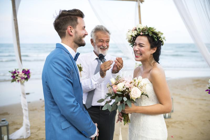 Young Caucasian couple`s wedding day stock photos