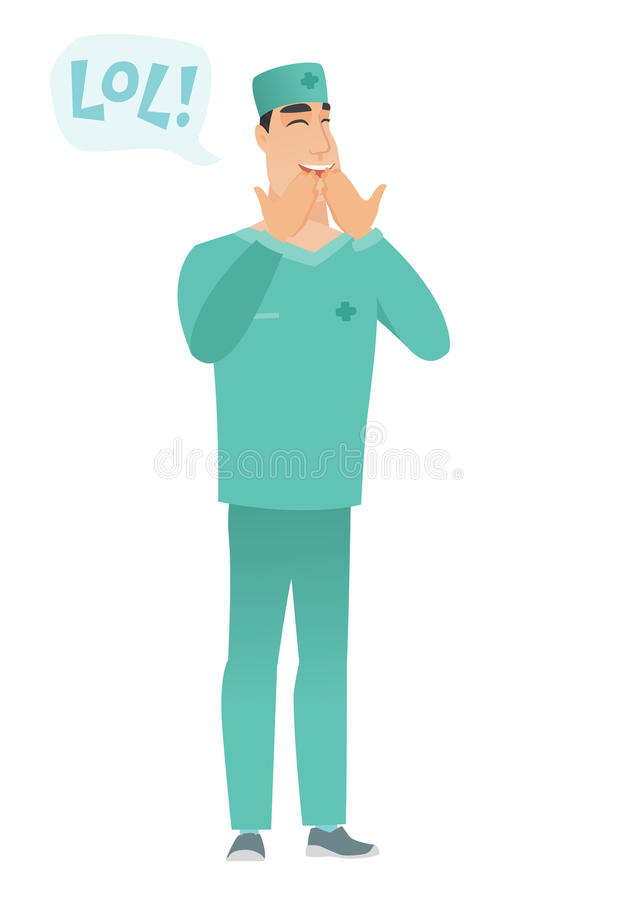 Young caucasian doctor laughing out loud. Young doctor in uniform laughing out loud. Doctor and speech bubble with text - lol. Doctor laughing out loud and royalty free illustration