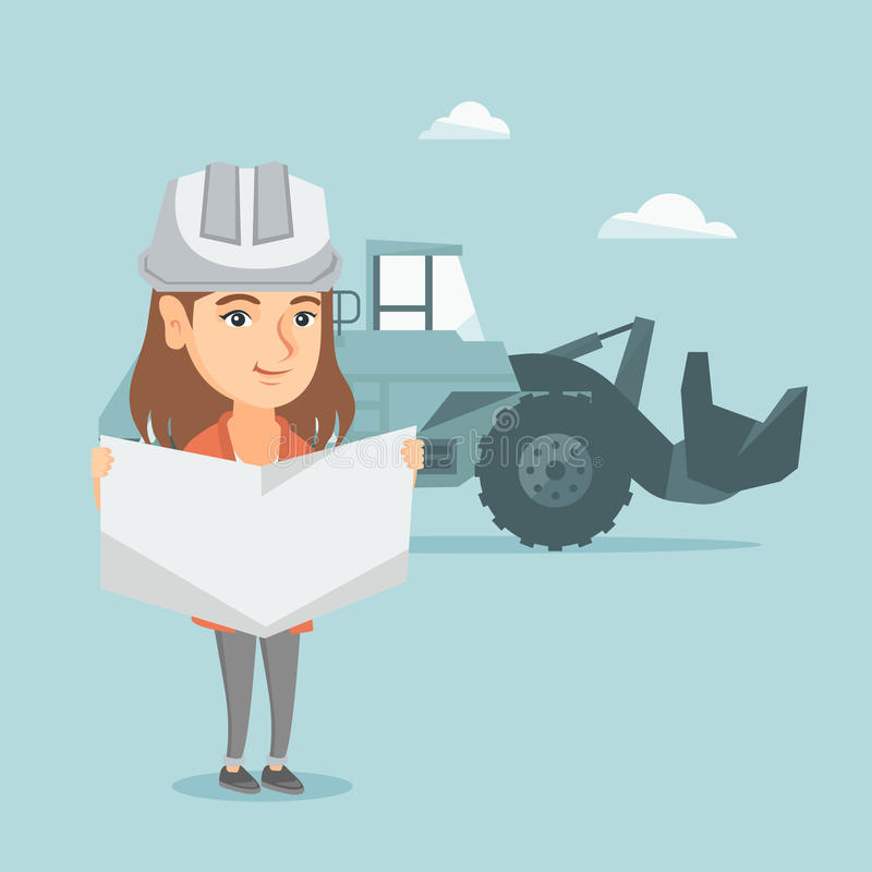 Young caucasian engineer inspecting a blueprint. Engineer with engineer blueprint standing on the background of excavator. Engineer holding a blueprint. Vector royalty free illustration