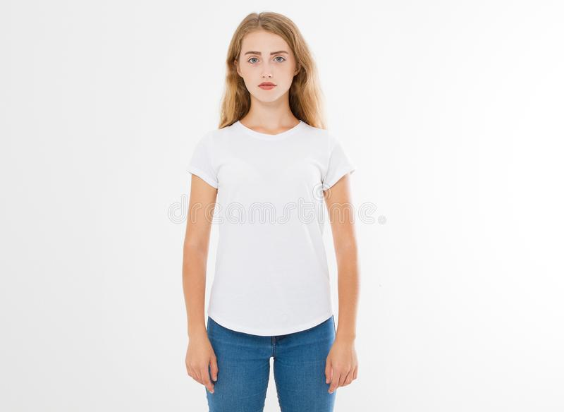 Young caucasian, europian woman, girl in blank white t-shirt. t shirt design and people concept. Shirts front view isolated. On white background. Mock up. Copy royalty free stock photo