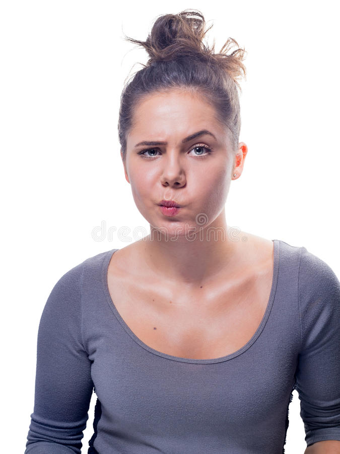 Young Caucasian Female With Gray Eyes And Brown Hair stock photos