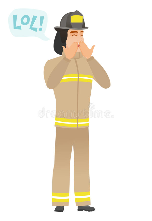 Young caucasian firefighter laughing out loud. Firefighter in uniform laughing out loud. Firefighter and speech bubble with text - lol. Firefighter laughing out royalty free illustration