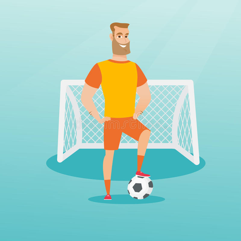Young caucasian football player with a ball. royalty free illustration