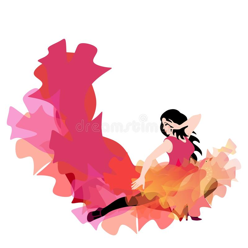 Free Young Caucasian Girl In Long Dress With Hem In Shape Of Flying Bird And Flame , Dancing Flamenco, Salsa, Bachata Or Tango Royalty Free Stock Image - 159727276