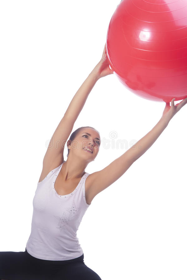 Download Young Caucasian Girl Making Regular Exercise Stock Photo - Image of girl, ball: 20851334