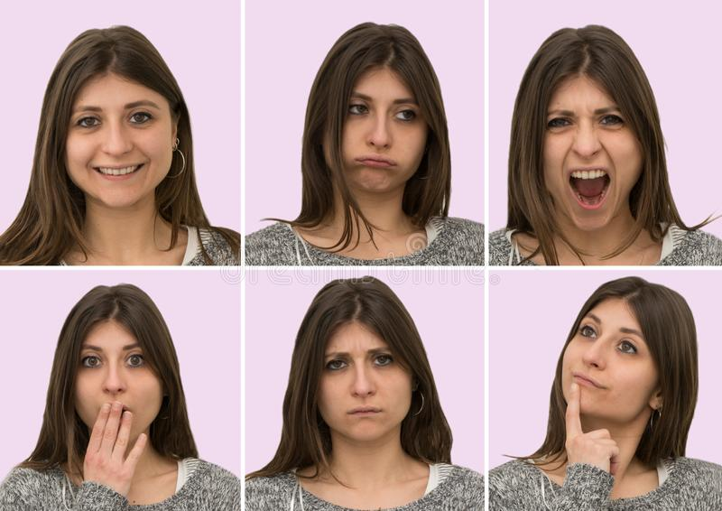 Young caucasian girl shows various facial expressions. Young caucasian girl isolated on pink background shows various facial expressions stock photos