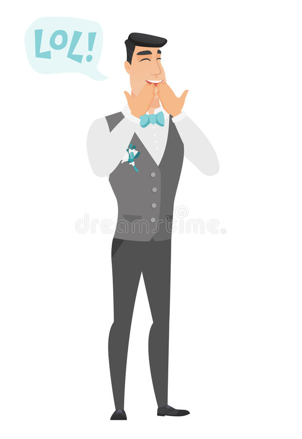 Young caucasian groom laughing out loud. Happy groom and speech bubble with text - lol. Groom laughing out loud and covering his mouth. Vector flat design stock illustration