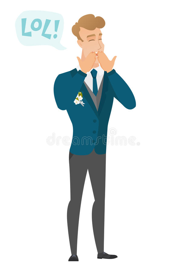 Young caucasian groom laughing out loud. Happy groom and speech bubble with text - lol. Groom laughing out loud and covering his mouth. Vector flat design vector illustration