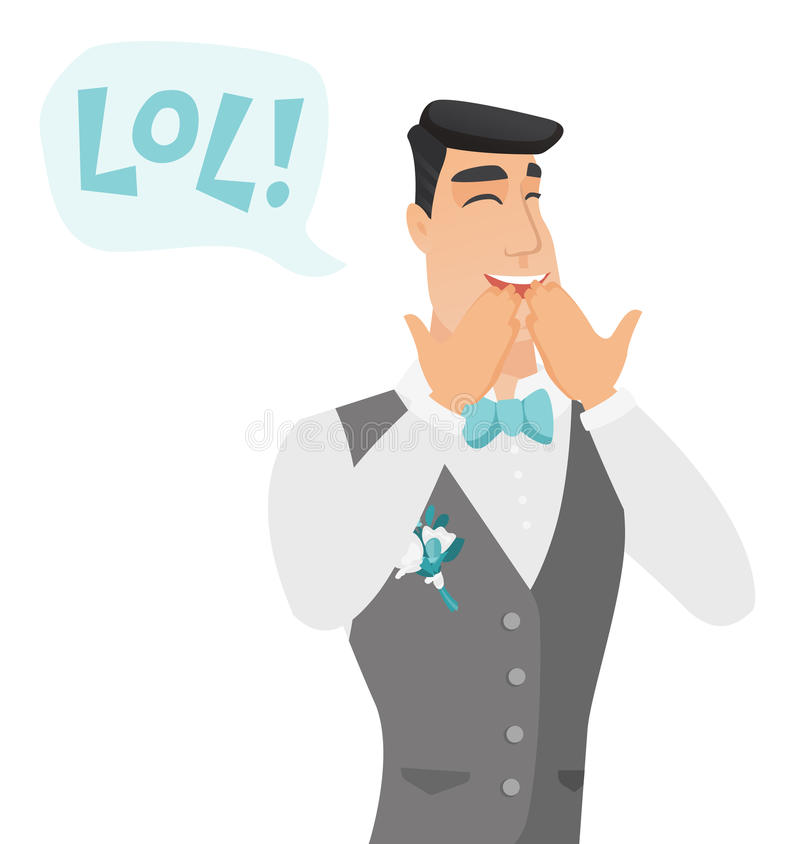 Young caucasian groom laughing out loud. Groom and speech bubble with text - lol. Groom laughing out loud and covering his mouth. Vector flat design vector illustration