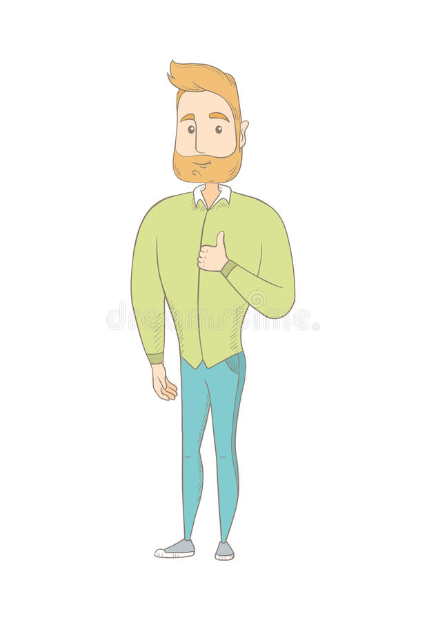 Young caucasian hippie man giving thumb up. Full length of smiling man with thumb up. Happy hipster man with a beard showing thumb up. Vector sketch cartoon vector illustration
