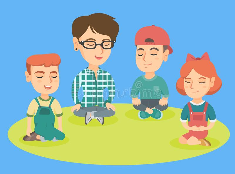 Kindergarten teacher and children meditating. royalty free illustration