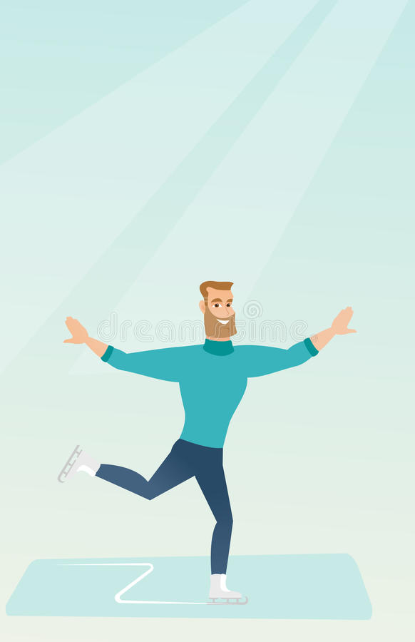 Young caucasian male figure skater. stock illustration