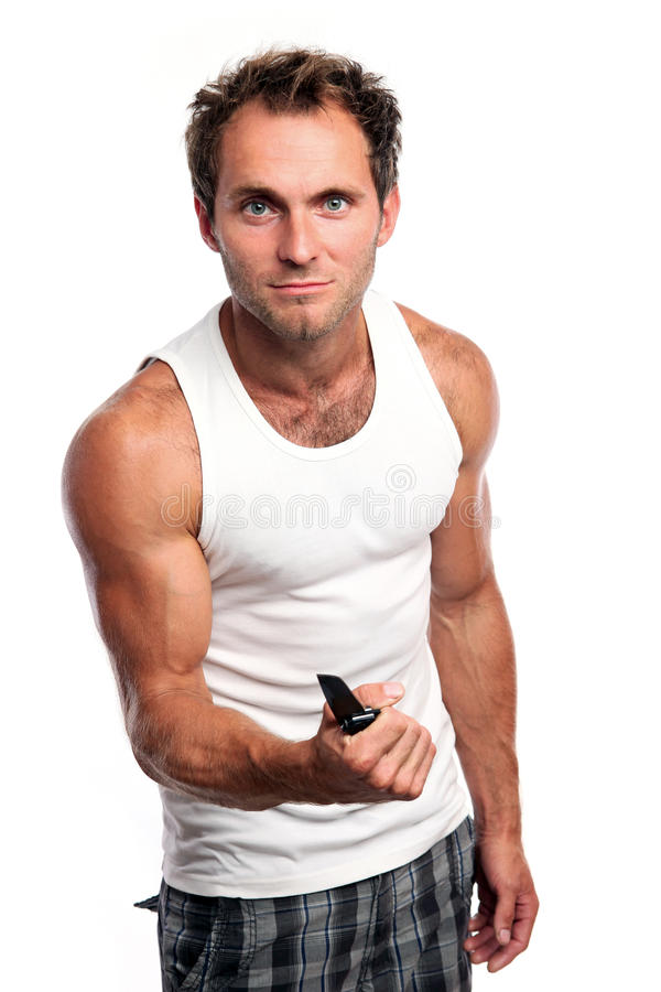 Download Young Caucasian Man With Knife Royalty Free Stock Photo - Image: 25740315