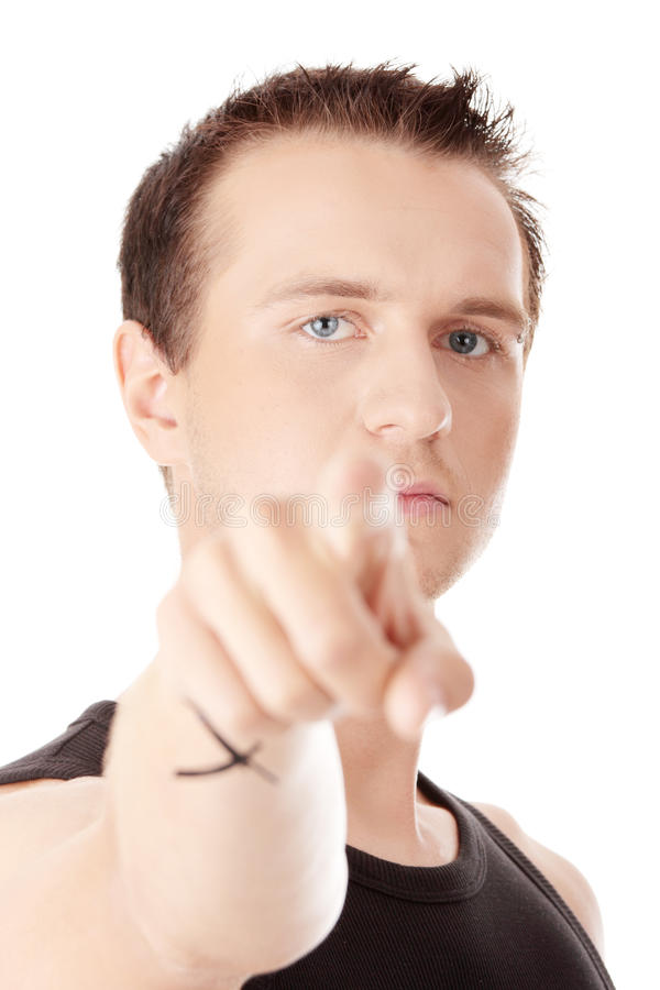 Download Young Caucasian Man, Pointing At Camera. Stock Image - Image: 13316797