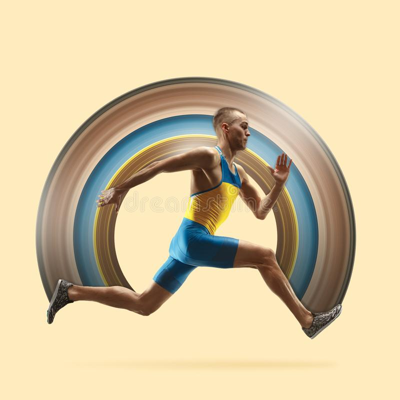 Young caucasian man running or jogging isolated on yellow studio background. vector illustration