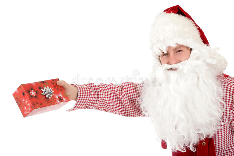 Young caucasian man Santa Claus, gifts stock photo