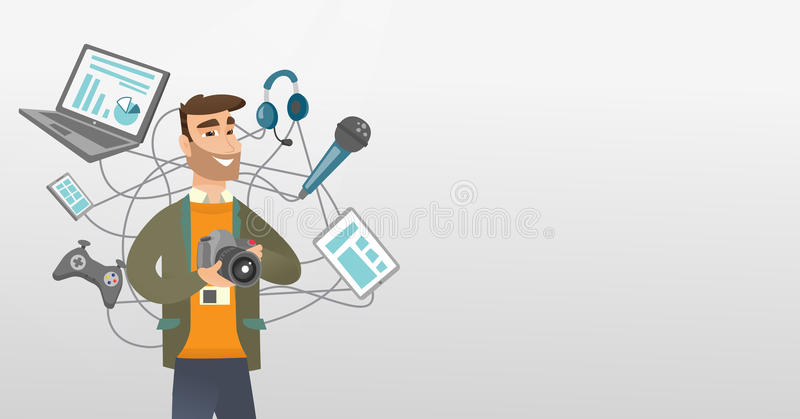 Young caucasian man surrounded by her gadgets. royalty free illustration