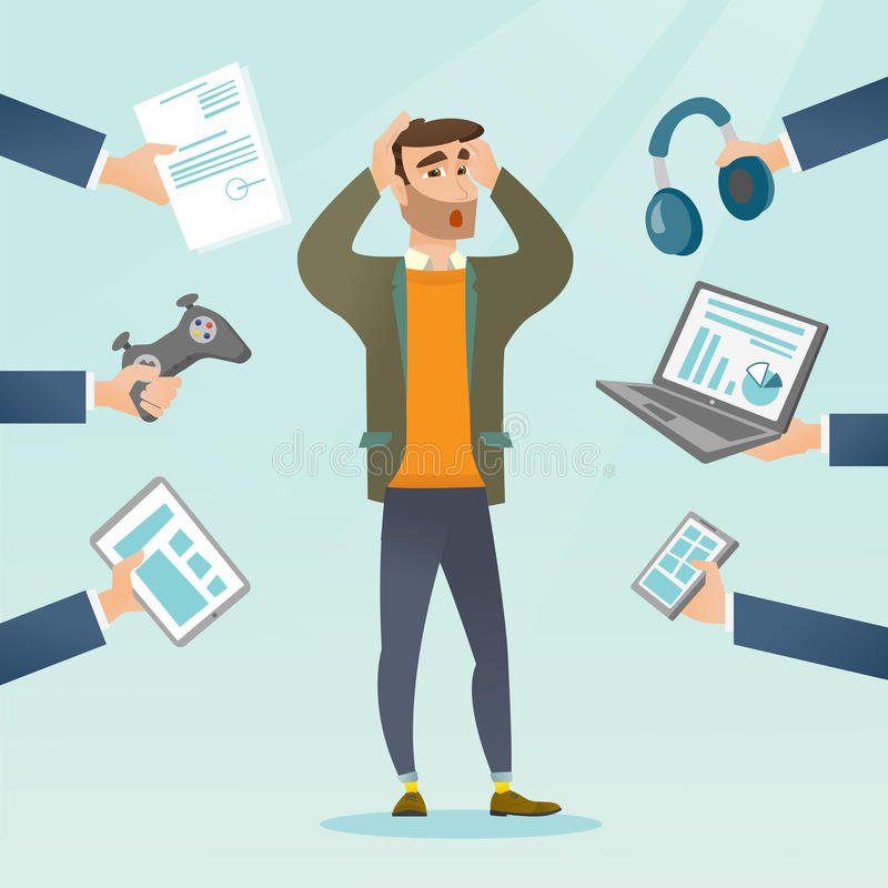 Young caucasian man surrounded by his gadgets. Young caucasian scared man clutching head and many hands with gadgets around him. Man in despair surrounded by vector illustration