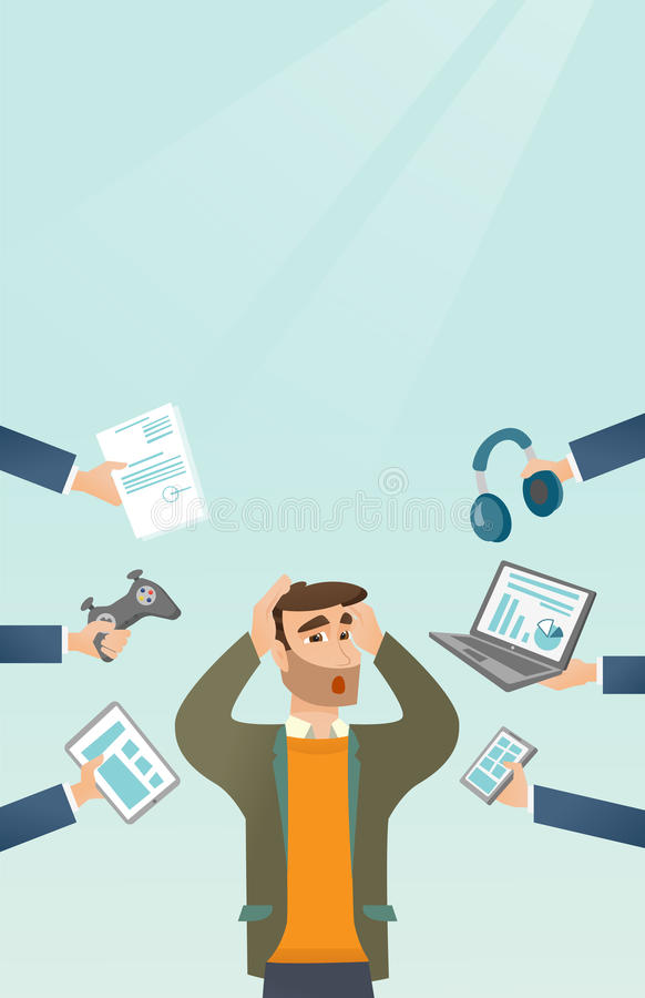Young caucasian man surrounded by his gadgets. Young caucasian scared man clutching head and many hands with gadgets around him. Man in despair surrounded by royalty free illustration