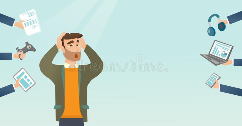 Young caucasian man surrounded by his gadgets. Caucasian scared man clutching head and many hands with gadgets around him. Man in despair surrounded by gadgets royalty free illustration