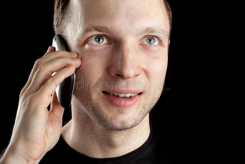 Download Young Caucasian Man Talks On Mobile Phone Stock Image - Image: 29323643