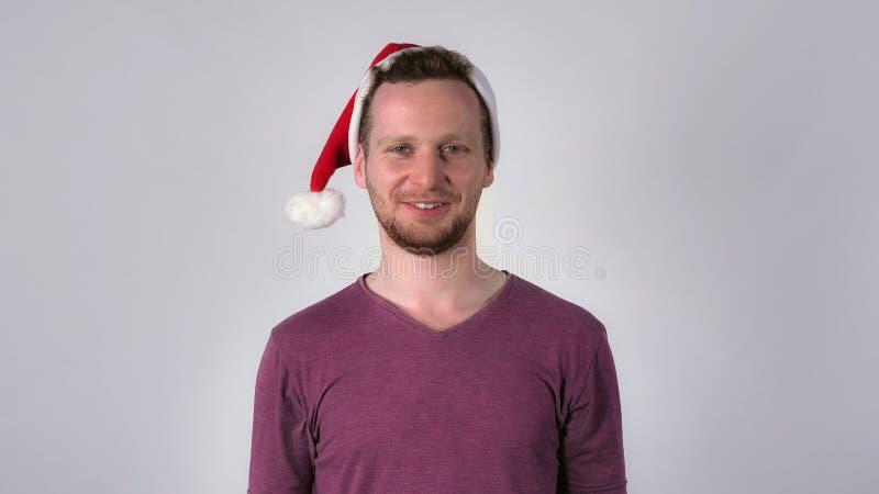 Smiling men santa claus royalty free stock image