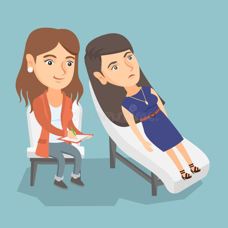 Caucasian psychologist having session with patient. Young caucasian patient lying on the sofa and talking about problems with psychotherapist or psychologist royalty free illustration