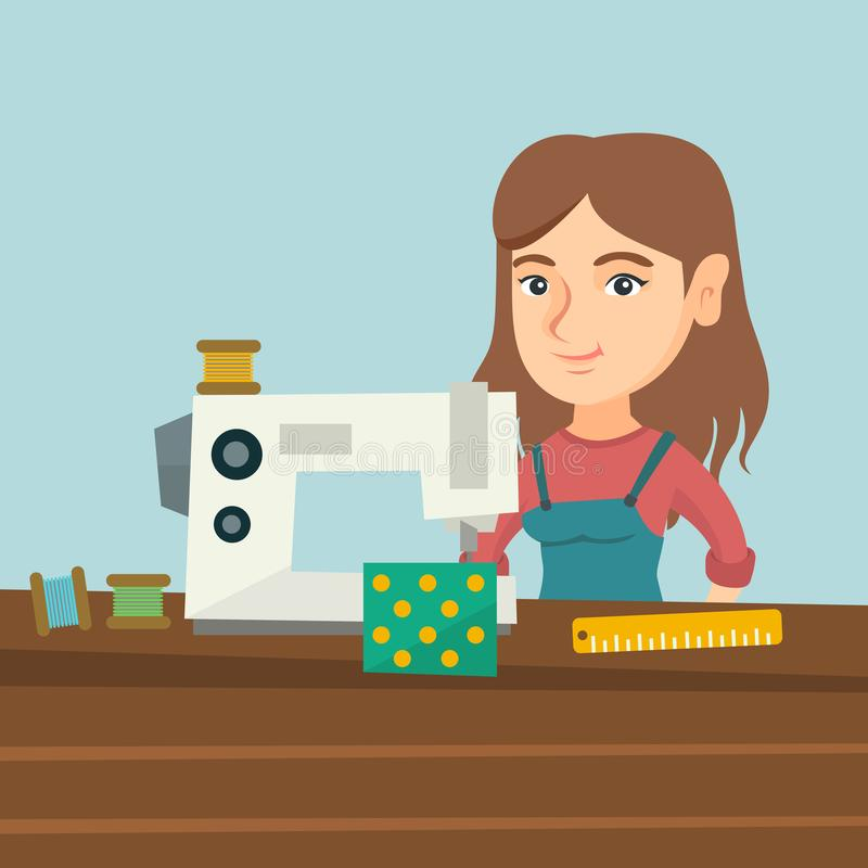 Seamstress using a sewing machine at the workshop. Young caucasian seamstress working in the cloth factory. Seamstress sewing on an industrial sewing machine royalty free illustration