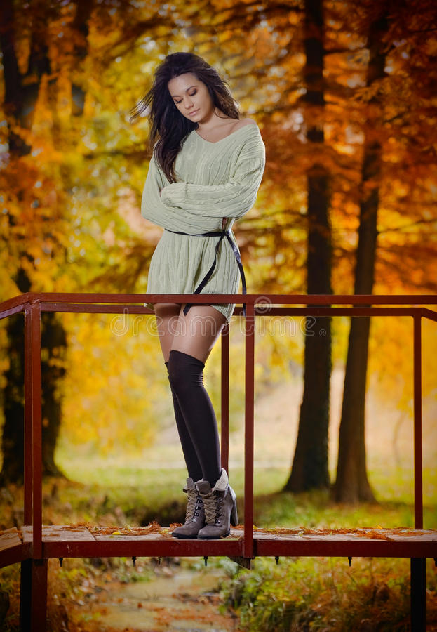 Young Caucasian sensual woman in a romantic autumn scenery. Fall lady .Fashion portrait of a beautiful young woman in forest stock image