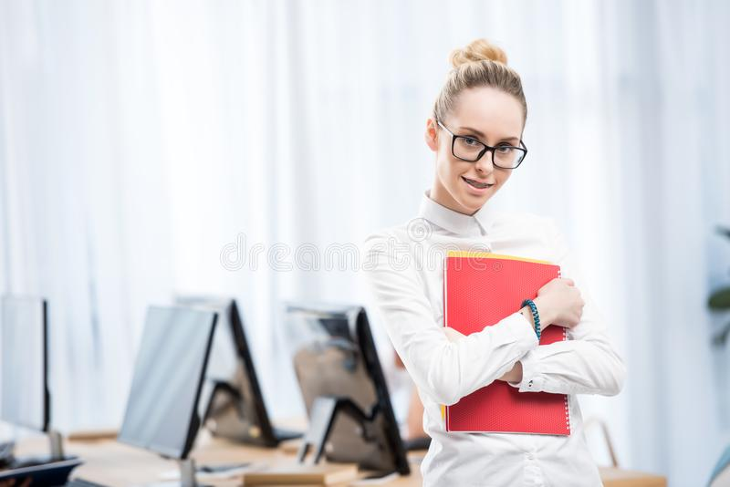 young caucasian student girl stock image