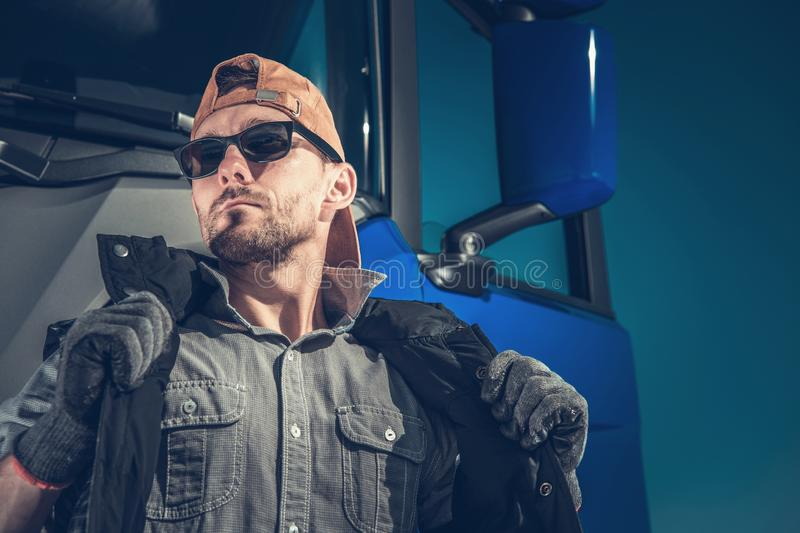Young Caucasian Trucker royalty free stock image