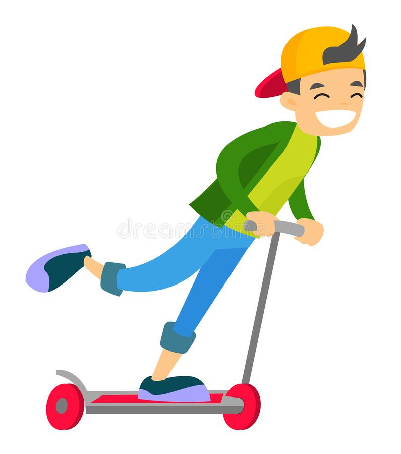 Young caucasian white boy riding a kick scooter. vector illustration