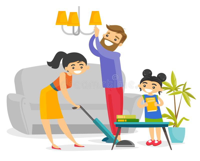 Young happy caucasian white family cleaning house. vector illustration