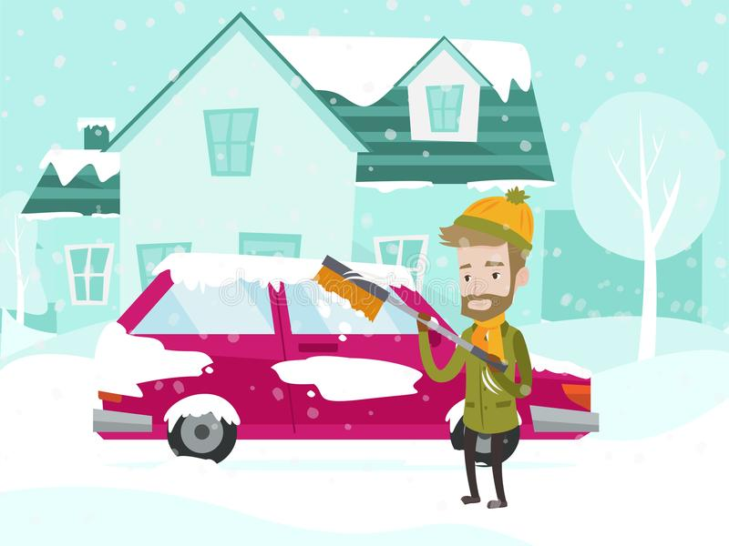 Young caucasian white man cleaning car from snow. stock illustration