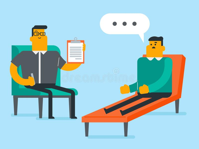 Caucasian psychologist having session with patient. Young caucasian white patient sitting on the sofa and talking about depression with psychologist stock illustration