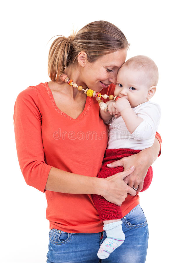 Young Caucasian woman and baby boy over white stock images