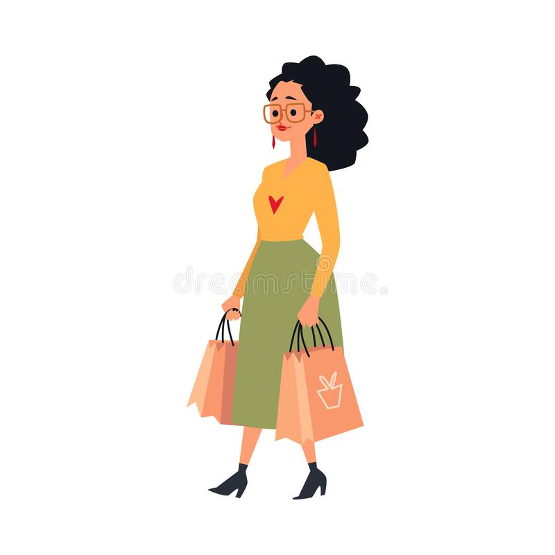 Young caucasian woman or brunette girl in skirt holds and carries paper bags with purchases. vector illustration