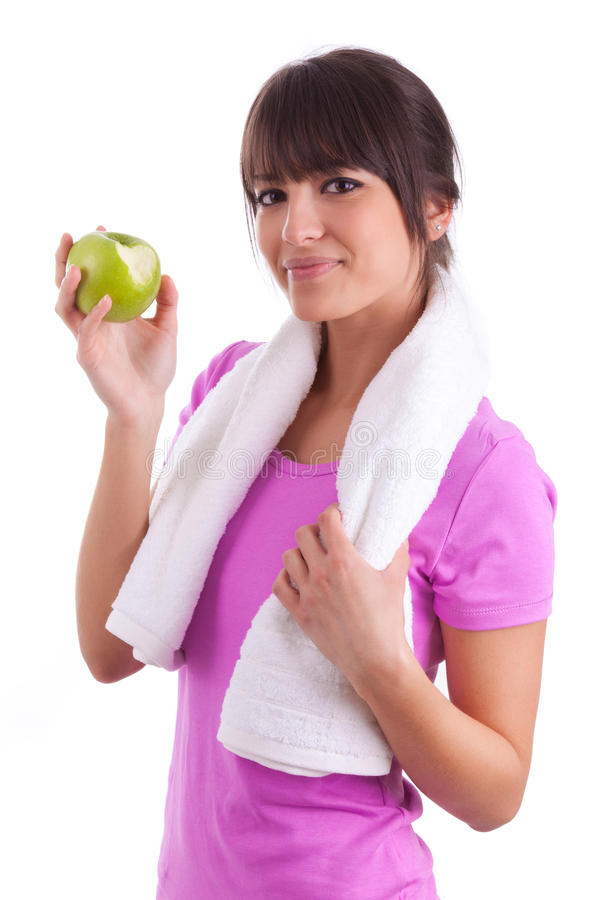 Download Young Caucasian Woman Eating  An Apple Stock Photo - Image of calories, caucasian: 29800888