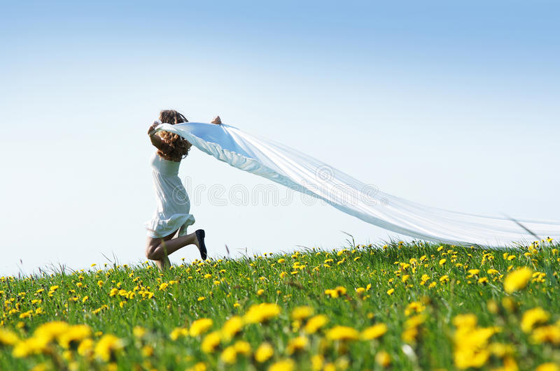 Download A Young Caucasian Woman On A Flowerish Field Stock Photo - Image: 25857406