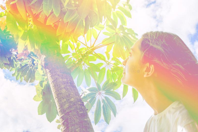 Young caucasian woman girl with long hair standing under tree looking up in the sky green foliage. Contemplation tranquility royalty free stock photos