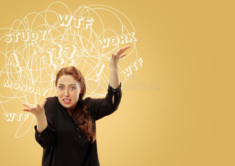 Young caucasian woman with mixed thoughts stock images