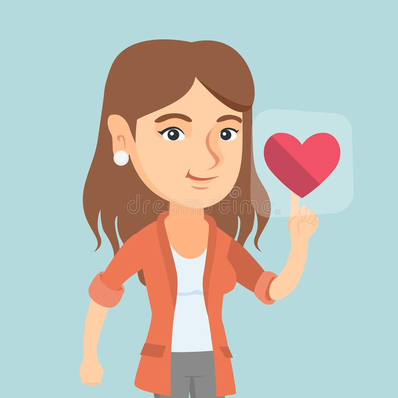 Young caucasian woman pressing heart shaped button royalty free illustration