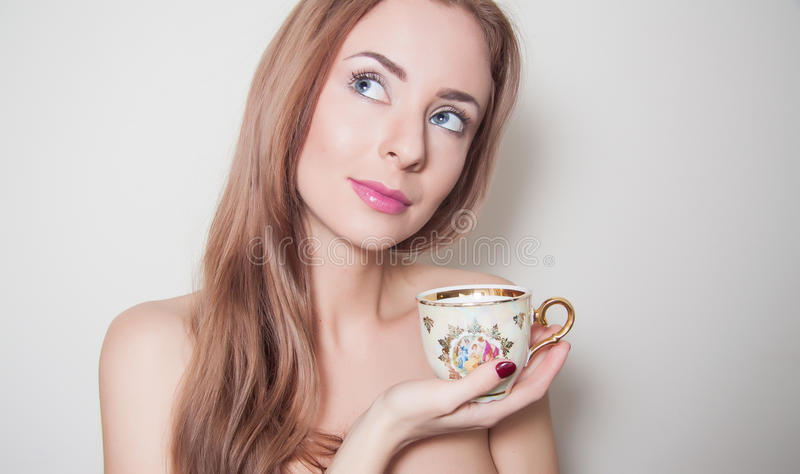 Young caucasian woman with pure skin royalty free stock photo